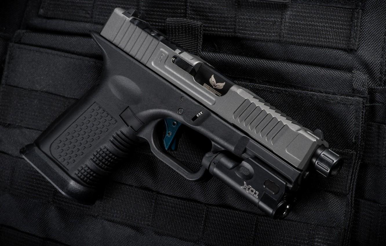Фото обои пистолет, оружие, gun, pistol, weapon, Глок, Glock, кастом, SBF custom