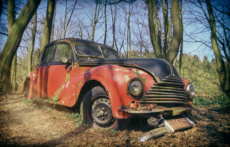 Фото обои машина, ржавчина, лом