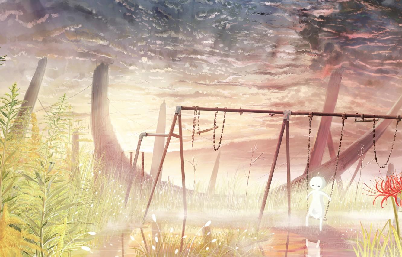 Фото обои небо, вода, природа, качели, девочка, ликорис