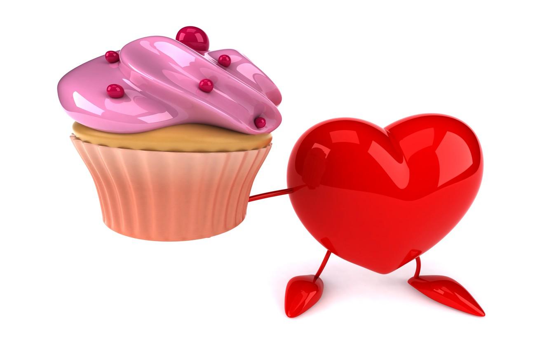 Фото обои сердце, heart, cupcake, funny, rendering
