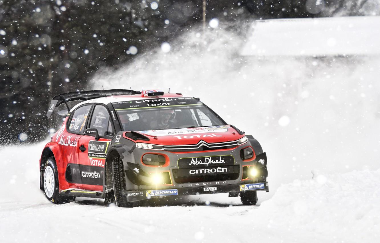 Фото обои Зима, Авто, Снег, Спорт, Машина, Гонка, Ситроен, Citroen, Автомобиль, WRC, Rally, Ралли, Kris Meeke, Citroen …
