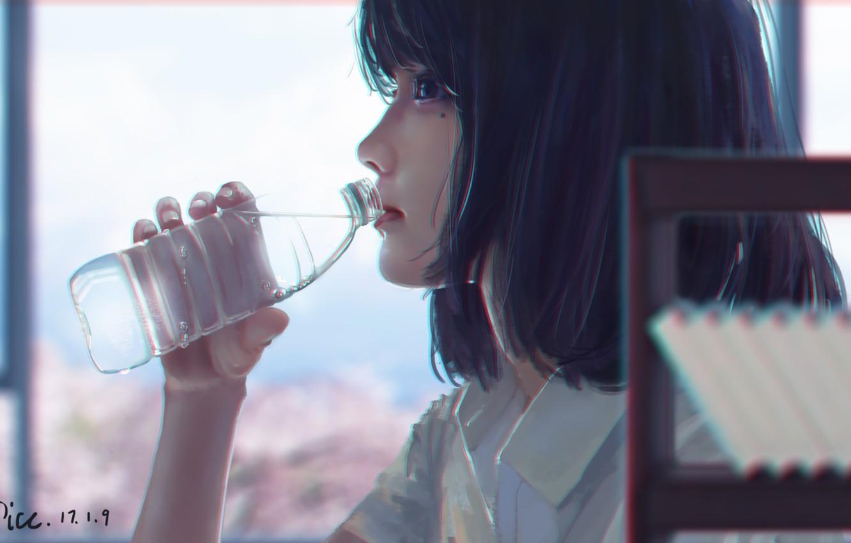 Фото обои вода, бутылка, арт, девуша, by xichechen