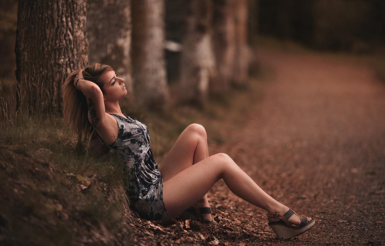 Фото обои дорога, лес, девушка, деревья, поза, макияж, фигура, платье, тату, прическа, туфли, шатенка, ножки, красивая, сидит, …