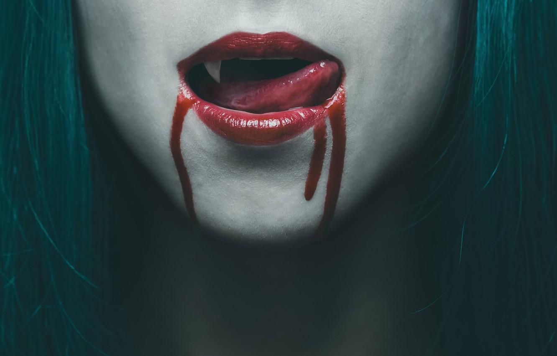 Фото обои blood, woman, lips, vampire, Tongue