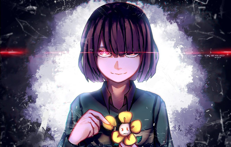 Фото обои цветок, взгляд, девочка, Undertale