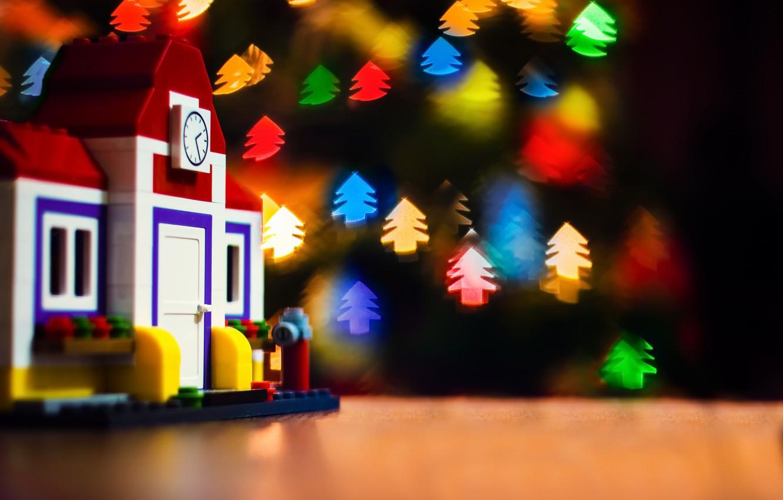 Фото обои огни, праздник, игрушки