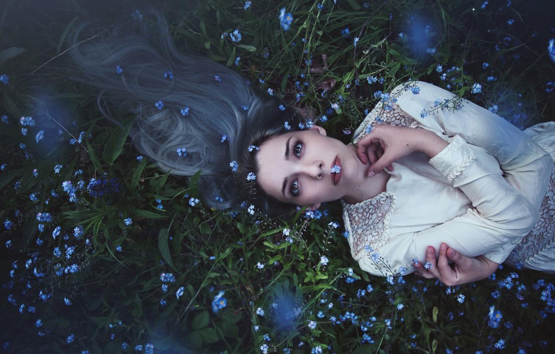 Фото обои взгляд, девушка, цветы, лицо, поза, молодость, поляна, волосы, портрет, весна, руки, платье, луг, лежит, длинные, ...