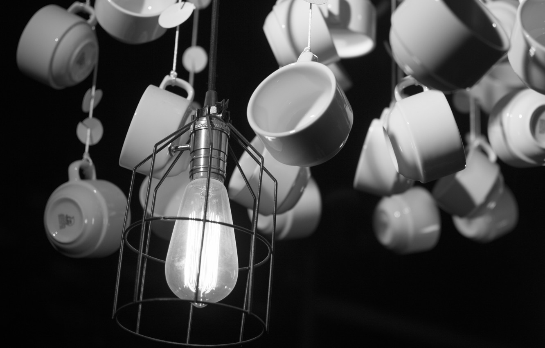 Фото обои white, black, cafe, lamp