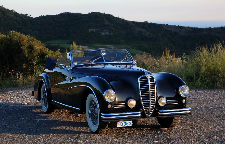 Фото обои закат, природа, ретро, черный, 1950, Cabriolet, Delahaye, Delahaye 135 M Atlas