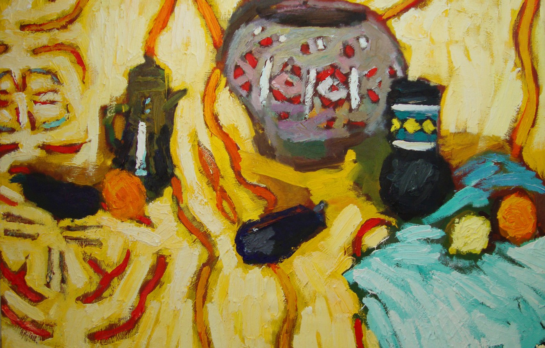 Фото обои лимон, яблоки, баклажаны, натюрморт, 2011, Петяев, голубая ткань