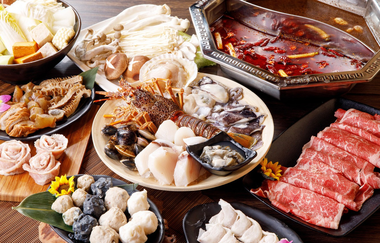 Фото обои грибы, мясо, морепродукты, блюда, ассорти, моллюски