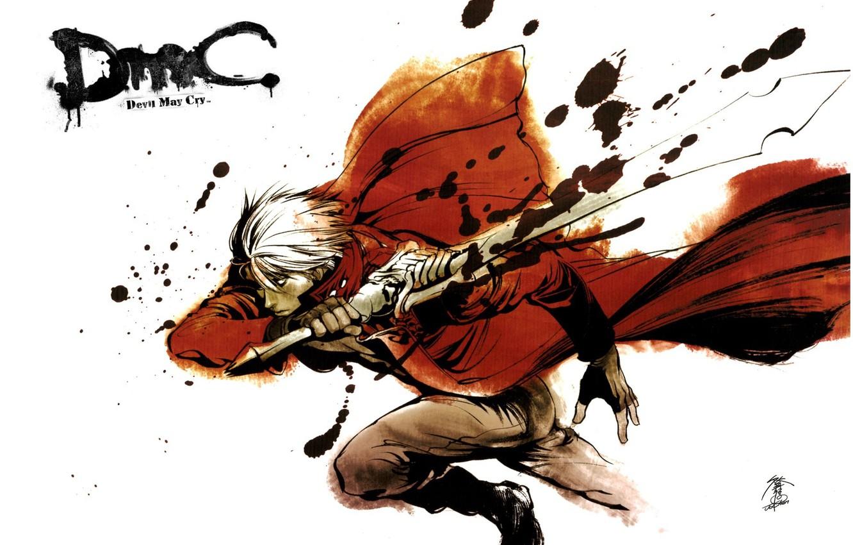Фото обои атака, меч, парень, Dante, красный плащ, Devil May Cry, брызги крови, рывок, Дьявол может плакать