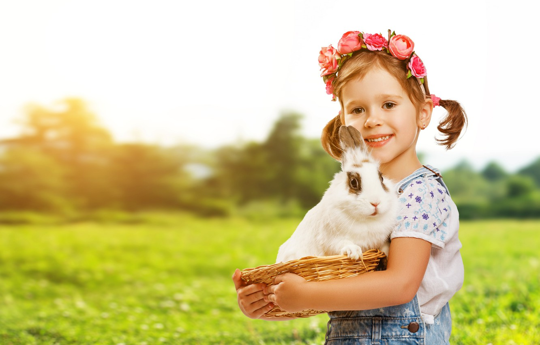 Фото обои природа, кролик, девочка