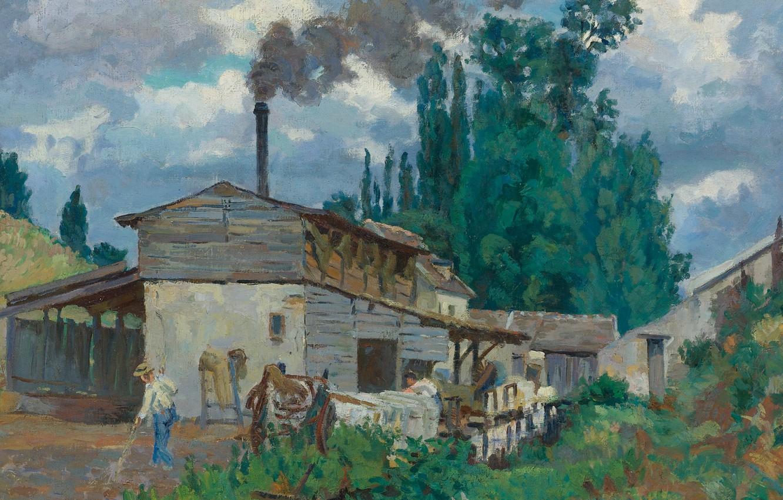 Фото обои пейзаж, картина, Арман Гийомен, Armand Guillaumin, Берега Бьевра