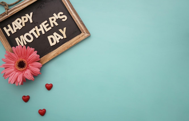 Фото обои цветы, сердечки, доска, love, happy, герберы, heart, pink, flowers, spring, gerbera, mother's Day