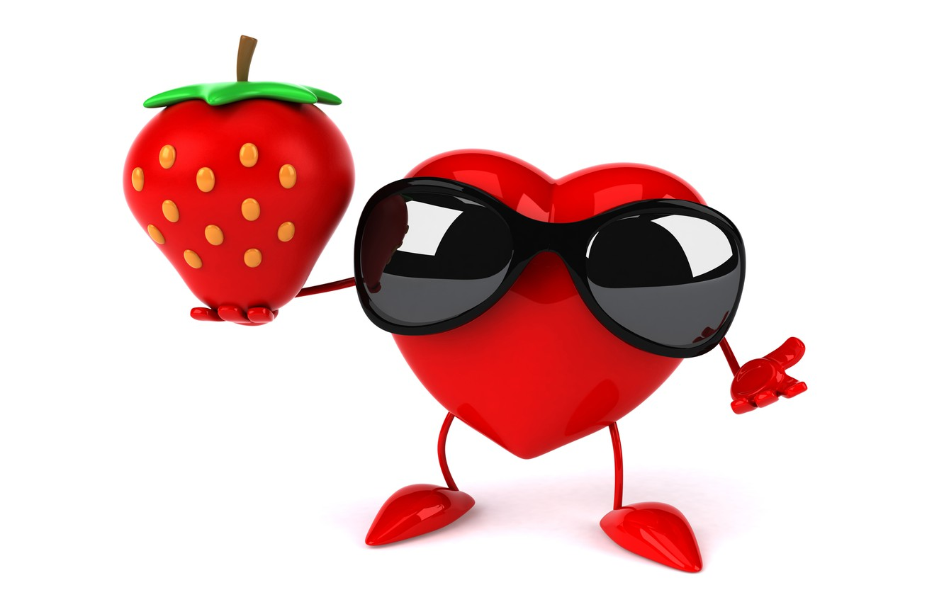 Фото обои сердце, клубника, heart, strawberry, funny, rendering, sunglasses, 3D Art