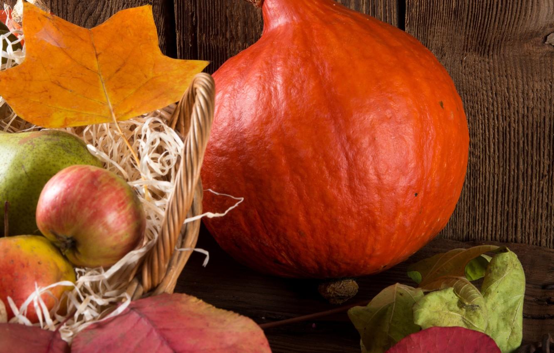 Фото обои яблоки, тыква, корзинка, груши, дары осени