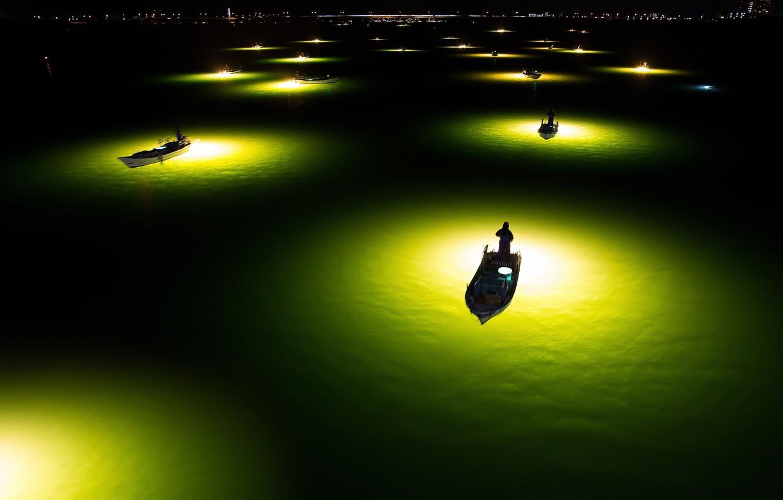 Обои рисунок, Вода, лодки, ночь, свет. Разное foto 18