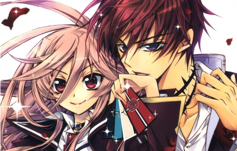 Фото обои карты, взгляд, руки, воротник, двое, art, розовые волосы, большие глаза, aya shouoto, kaede higa, kiss …