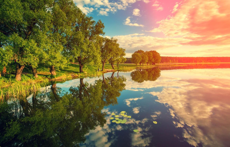 Фото обои Небо, Природа, Облака, Отражение, Деревья, Река, Пейзаж