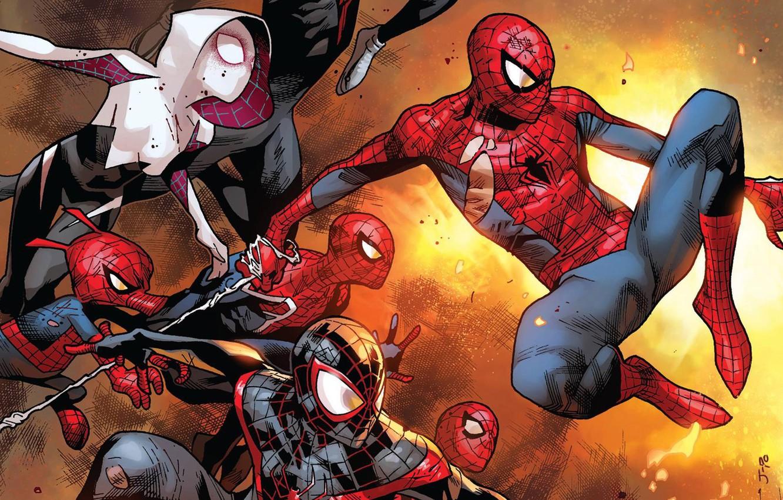 Фото обои Паутина, Герои, Костюм, Маска, Комикс, Heroes, Superheroes, Web, Marvel, Spider-man, Человек-паук, Comics, Peter Parker, Питер …