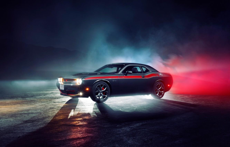 Фото обои свет, туман, фары, Додж, колеса, Dodge, challenger, Челленджер