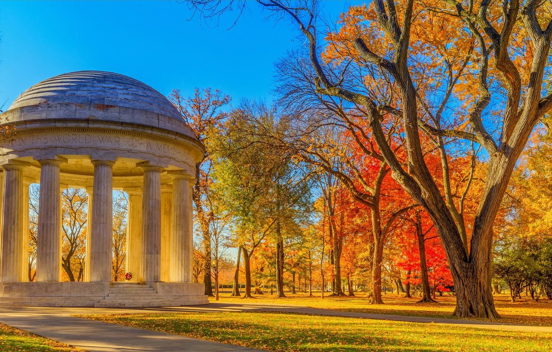 Фото обои осень, листья, солнце, деревья, парк, желтые, Вашингтон, США, мемориал