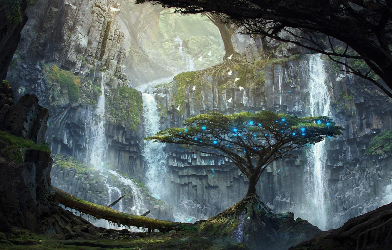 Фото обои деревья, огни, скалы, арт, водопады