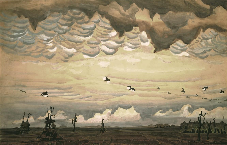 Фото обои 1920, Charles Ephraim Burchfield, вижионаризм, Birds over Field