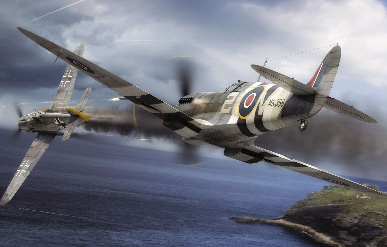 Обои ww2, dogfight, war, spitfire, painting. Авиация foto 14