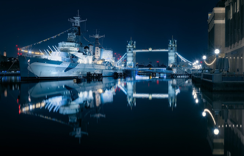 Фото обои Tower Bridge, London, Thames, ship