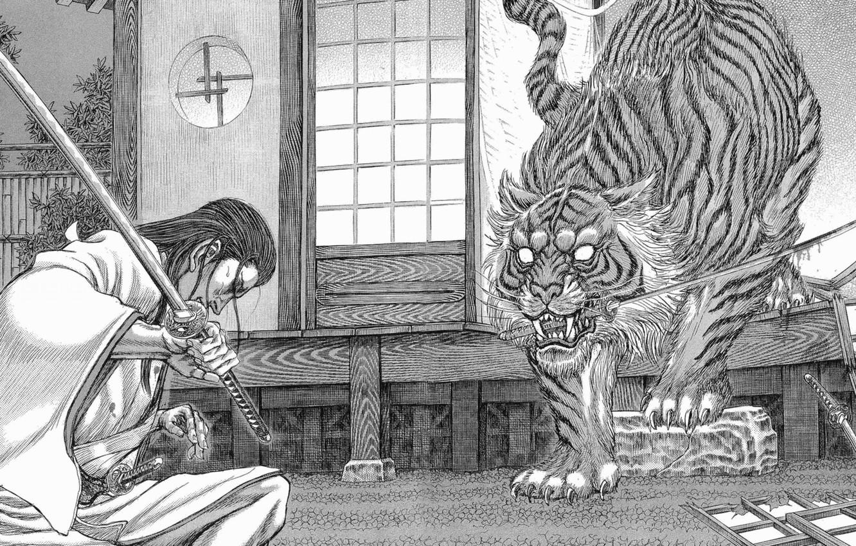 Фото обои sword, blood, long hair, wood, tiger, anime, katana, man, fight, ken, animal, blade, samurai, martial …