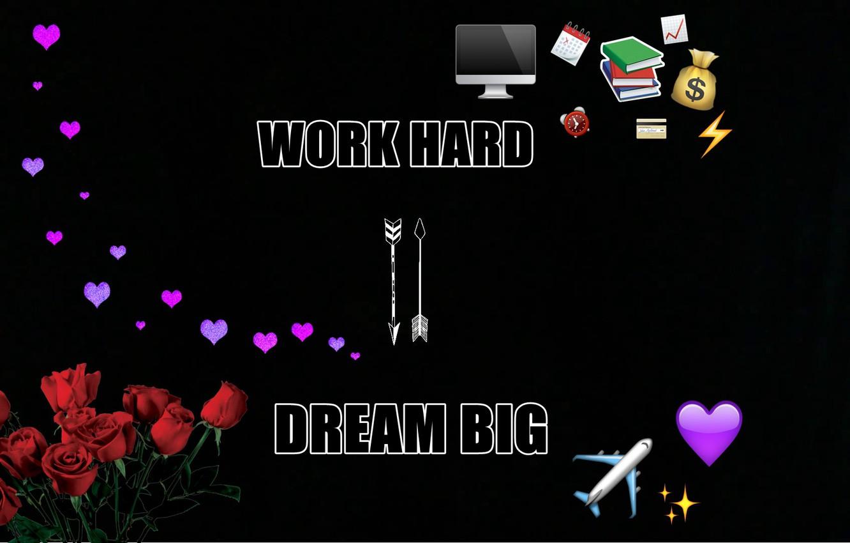 Фото обои цветы, стиль, сердце, смайлы, стрелы, слова, фраза, мотивация, motivation, work hard, dream big, вконтакте, эмодзи, …