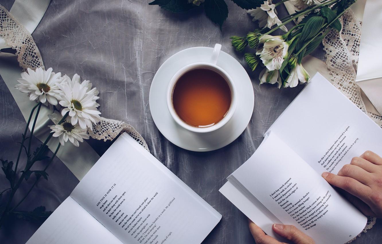 Обои напиток, книга, чтение, чай, окно. Разное foto 7