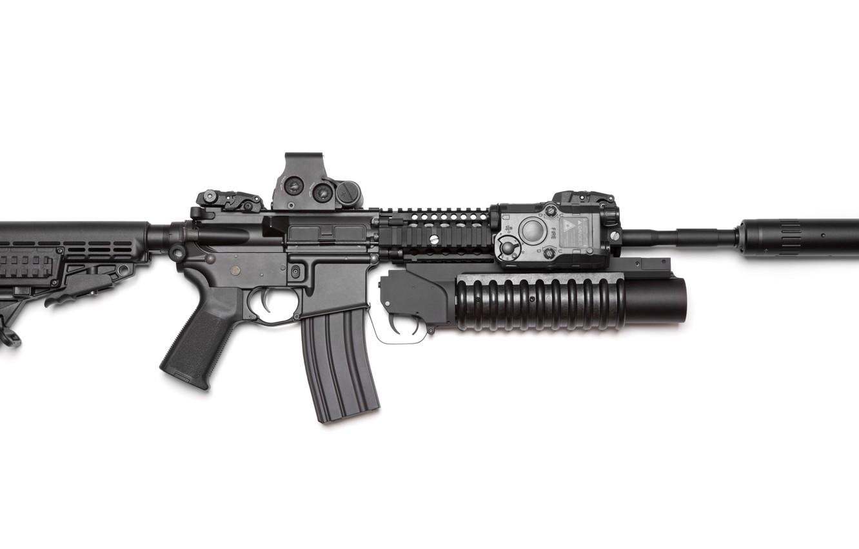 Фото обои AR-15, AR 15, 15 with grenade launcher, weapon of war