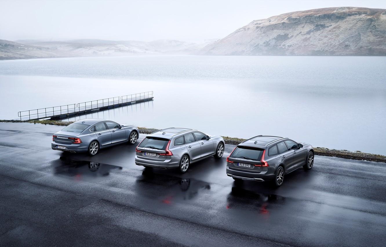 Фото обои Volvo, Седан, Car, Silver, Cross Country, Универсал, 2017, S90, V90