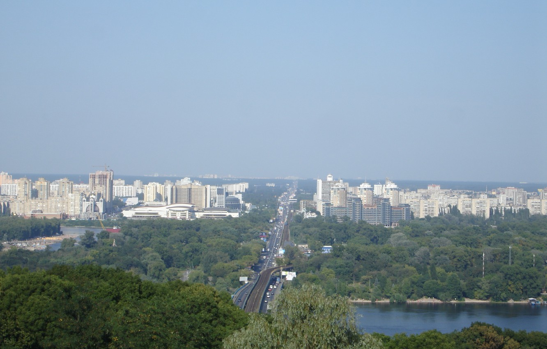 Фото обои лето, небо, мост, Киев, Днепр