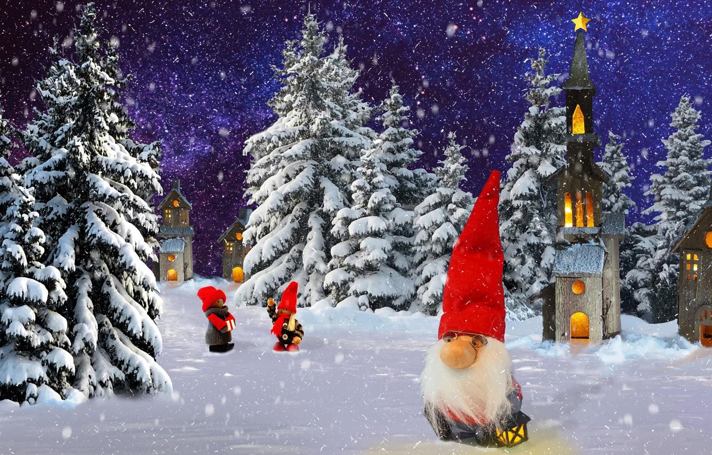 Фото обои зима, природа, гном, праздник.новый од