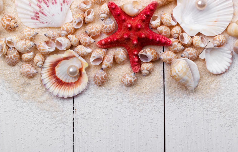 Обои Seashells, sand, Marine, жемчужина, perl, still life, Звезда, starfish, wood, ракушки. Разное foto 9