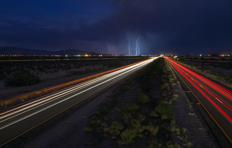 Обои дорога, ночь, огни. Разное foto 19