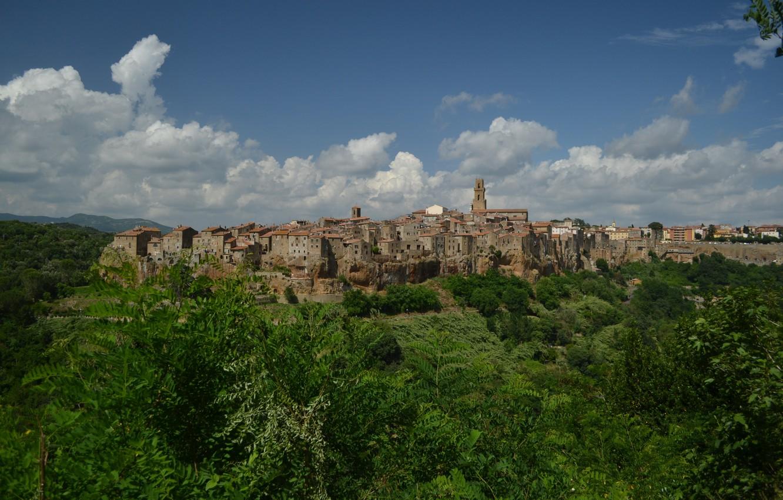 Фото обои Дома, Панорама, Италия, Здания, Italy, Тоскана, Italia, Panorama, Toscana, Tuscany, Питильяно, Pitigliano