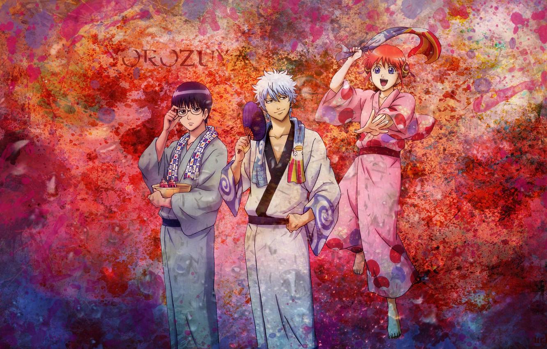 Фото обои аниме, юката, anime, gintama, гинтама, gintoki, kagura, shinpachi shimura, гинтоки саката, кагура, шинпачи