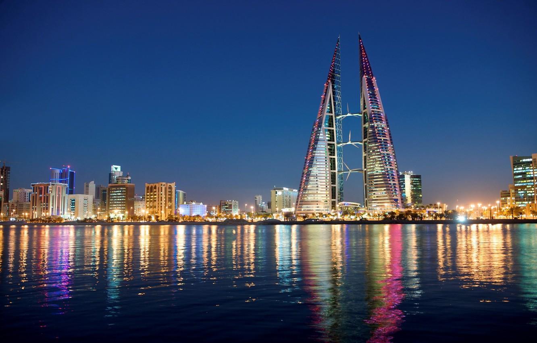 Фото обои city, lights, sky, sea, night, buildings, architecture, skyscrapers, cityscape, Bahrain, Manama