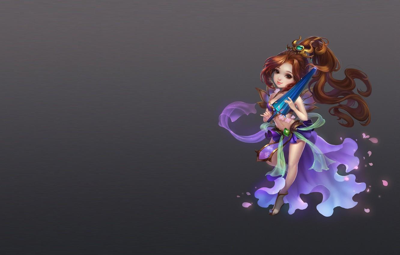 Фото обои девушка, зонтик, игра, аниме, арт, костюм, чиби, zhang wenjie