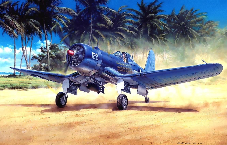 Фото обои истребитель, painting, поршневой, WW2, Chance Vought, ВМС США, КМП США, F4U-1A Corsair