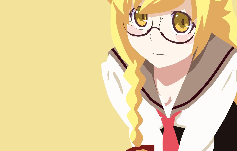 Фото обои yellow, manga, bishojo, seifuku, light novel, Shinobu Oshino, japonese, .anime, by erominimalistsensei, Monogata ri Series