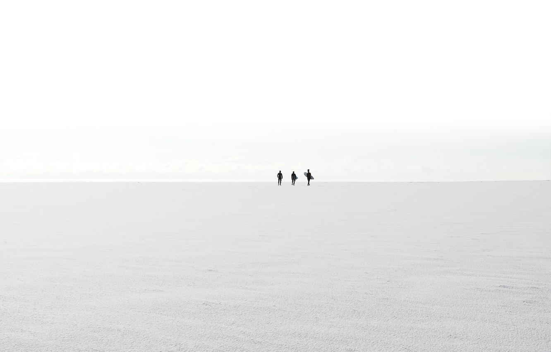Фото обои море, берег, силуэты