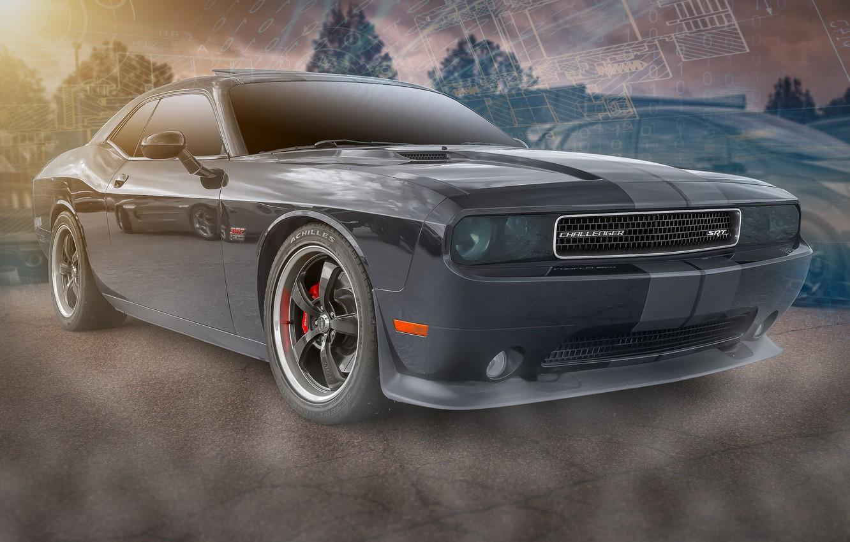 Фото обои черный, Dodge, Challenger SRT