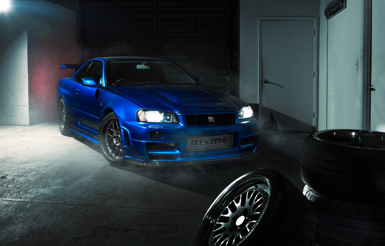Фото обои GTR, Nissan, Blue, R34