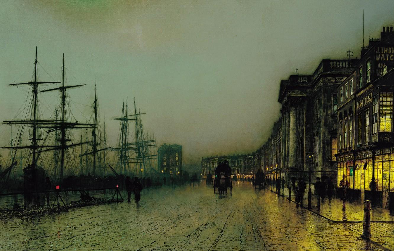 Фото обои корабль, картина, городской пейзаж, Джон Эткинсон Гримшоу, John Atkinson Grimshaw, Canny Glasgow
